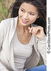 překrásný, asijský, číňané eny, děvče