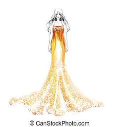překrásný, barva vodová, děvče, móda, ilustrace
