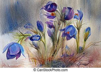 překrásný, barva vodová, flowers., malba, pramen