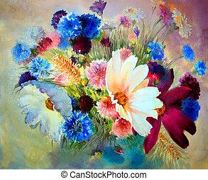 překrásný, barva vodová, flowers., malba