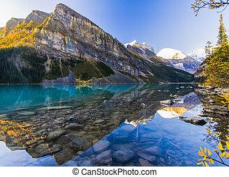 překrásný, brzký ráno, jezero louise