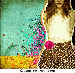překrásný, dávný, .grunge, text, noviny, grafické pozadí, děvče