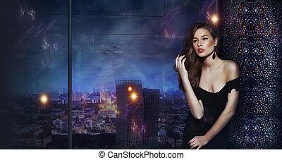 překrásný, děvče, nad, futuristický, městský, grafické pozadí, o, večer, město