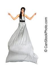 překrásný, děvče, nosení, dlouho, stříbrný, obléci, osamocený, oproti neposkvrněný, background;, lem, flutters;, plný těleso