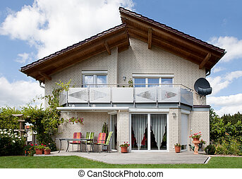překrásný, domů, moderní, sen