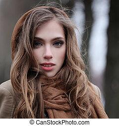 překrásný eny, čelit, venku, portrét