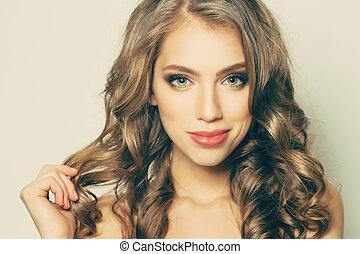 překrásný eny, s, dlouho, kudrnatý vlas