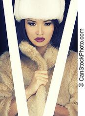 překrásný, erotický, japonština, asijský sluka, do, kožich, a, klobouk