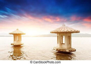 překrásný, hangzh, západ, jezero, scenérie, západ slunce,...