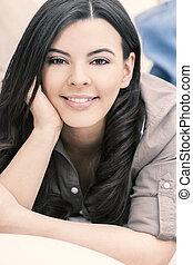 překrásný, hispanic eny, usmívaní