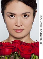 překrásný, japonština, děvče, s, růže