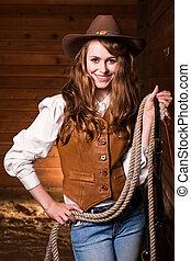překrásný, kavkazský, cowgirl