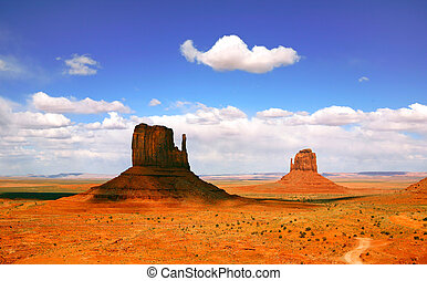 překrásný, krajina, o, pomník údolí, arizona