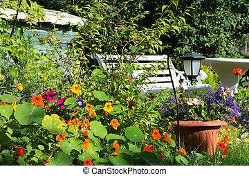 překrásný, léto, zahrada