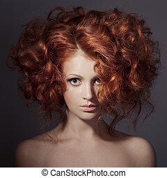 překrásný, móda, kudrnatý, portrait., hair., woman.