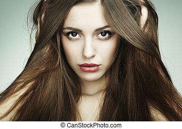 překrásný, móda, mládě, closeup, portrét, woman.