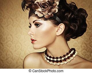 překrásný, móda, vinobraní, za, portrét, woman.