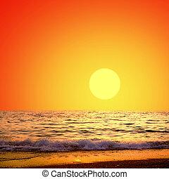překrásný, moře, druh krajinomalba, dále, ta, východ slunce, nebe