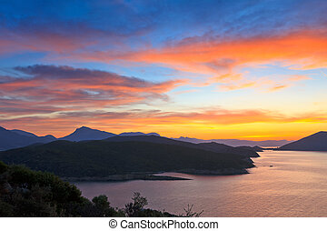 překrásný, nad, západ slunce, egejské moře
