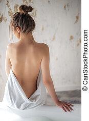 překrásný, nahý, ohnisko, samičí, obránce