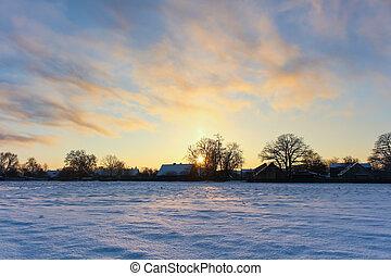 překrásný, paprsek, zima, sněžný, slunit se, bojiště, krajina