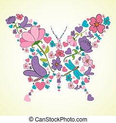 překrásný, pramen, forma, květiny, motýl