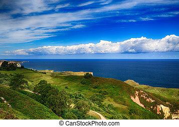 překrásný, scenérie, oceán, břeh, asturias, španělsko