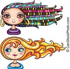 překrásný sluka, s, vlas, slohy