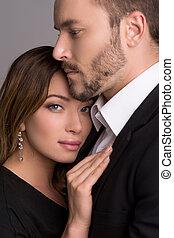 překrásný, stálý, manželka, dvojice, kuplovat., formalwear, ...