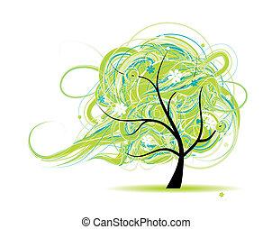 překrásný, strom, design, umění, tvůj
