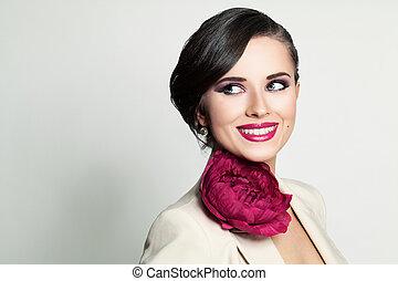 překrásný, usmívaní, woman., šťastný, módní modelka