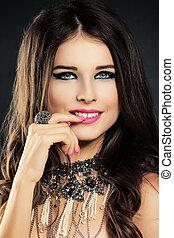 překrásný, usmívaní, woman., kráska, móda, portrét