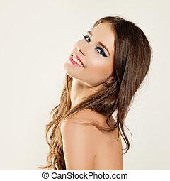 překrásný, usmívaní, woman., neposkvrněný, teeth., zdravý, skin., makeup., účes