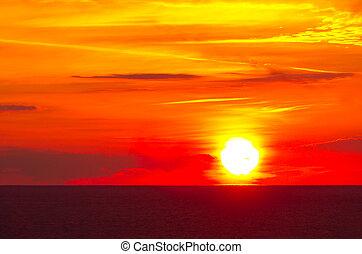překrásný, východ slunce, do, ta, moře