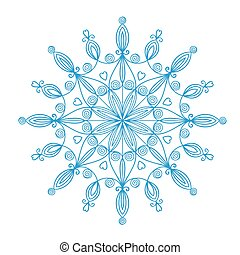 překrásný, vektor, sněhová vločka