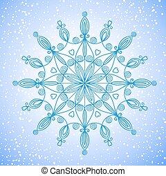 překrásný, vektor, velký, sněhová vločka