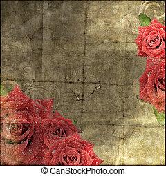 překrásný, vinobraní, noviny, grafické pozadí, s, růže, silueta