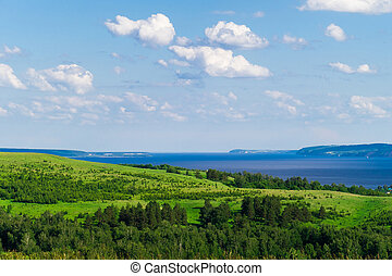 překrásný, vyvýšenina, řeka, louky, krajina