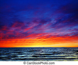 překrásný, západ slunce, nad, ta, moře