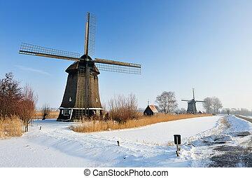 překrásný, zima, větrný mlýn, krajina