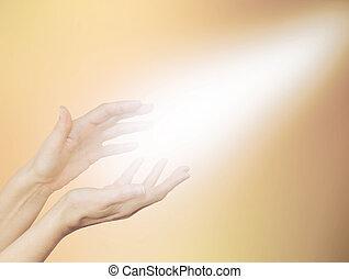 překrásný, zlatý, léčení, energie