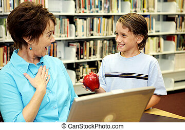 překvapení, škola, -, učitelka, knihovna
