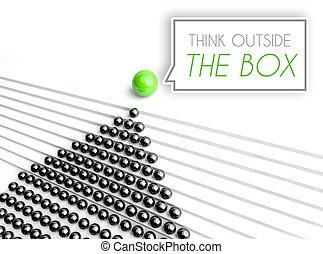 přemýšlet, mimo, dávat, business pojem