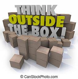 přemýšlet, mimo, dávat, lepenka balit, originální, myslící