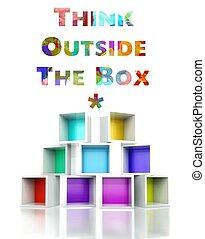 přemýšlet, mimo, dávat, s, barvitý, 3, design