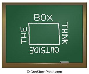 přemýšlet, mimo, ta, box.