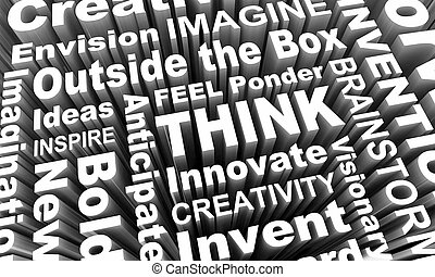 přemýšlet, představit si, envision, tvořivost, vzkaz, koláž, 3, render, ilustrace