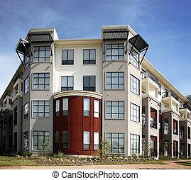přepych, byt, (condo), budova