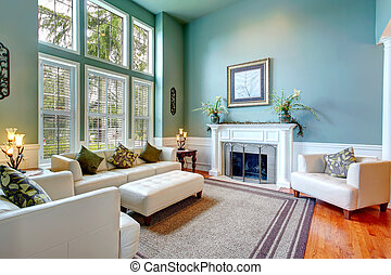 přepych, ubytovat se, interior., vkusný, obývací pokoj...