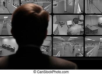 přes, monitor, dívaní, běžet, video, zaměstnanec, tajný-...